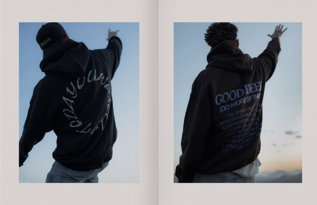 Image from the lookbook of Harry Hudson's new merchandise collection, 'Positive Pack No. 1'