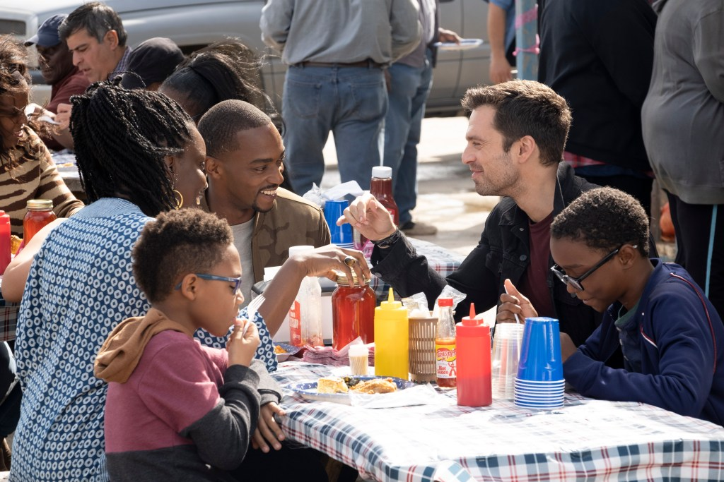 (L-R): Sarah Wilson (Adepero Oduye), Falcon/Sam Wilson (Anthony Mackie) and Winter Soldier/Bucky Barnes (Sebastian Stan) in Marvel Studios' THE FALCON AND THE WINTER SOLDIER.
