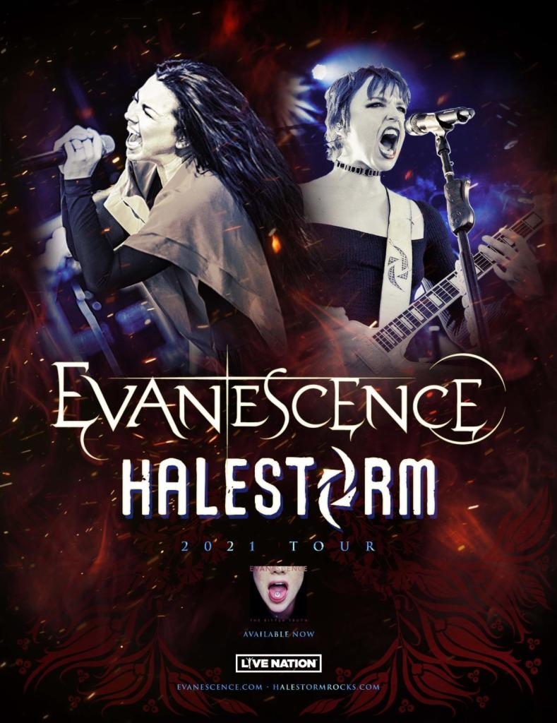 Evanescence and Halestorm tour poster