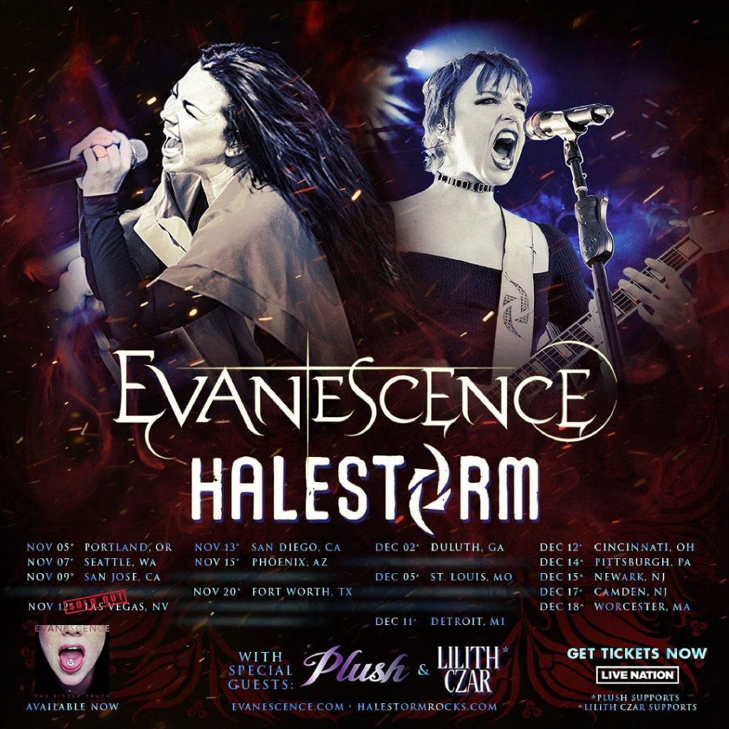 Evanescence and Halestorm tour dates