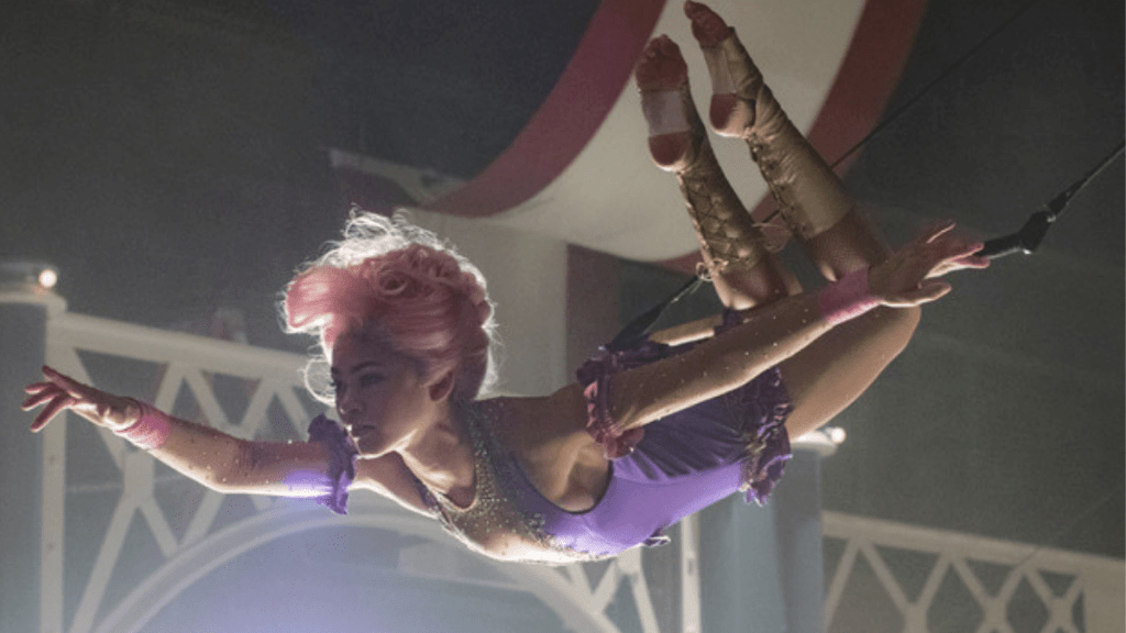 Zendaya on a trapeze in The Greatest Showman